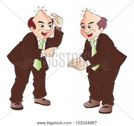 Vector illustration of mimicry, happy man gesturing in front of his clone.