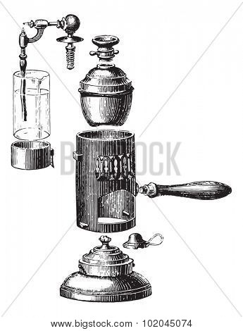 Boboeuf spray, removed, vintage engraved illustration. Usual Medicine Dictionary by Dr Labarthe - 1885.
