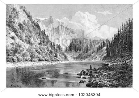 Dunajec Valley near Szczawnica Town in the Tatras Mountains, Poland, drawing by G. Vuillier, from a photograph, vintage engraved illustration. Le Tour du Monde, Travel Journal, 1881