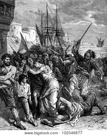 Tunisia. The human game was thrown pell-mell on the shore, vintage engraved illustration. Journal des Voyage, Travel Journal, (1880-81).