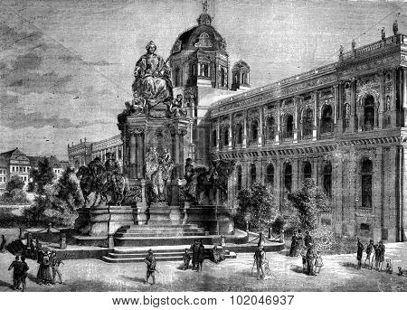 Vienna, Austria. The statue of Maria Theresa, vintage engraved illustration. Journal des Voyage, Travel Journal, (1880-81).