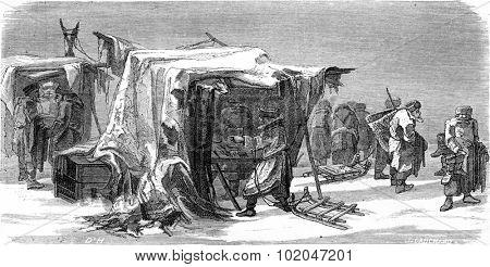 A market in Livonia, vintage engraved illustration. Le Tour du Monde, Travel Journal, (1865).