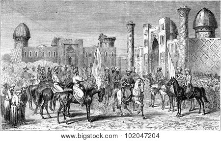 Enter the emir in Samarkand, vintage engraved illustration. Le Tour du Monde, Travel Journal, (1865).