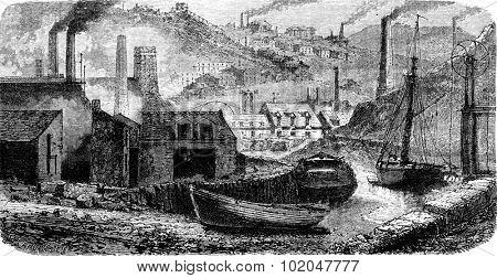 Factory Vivian view taken on the channel, vintage engraved illustration. Le Tour du Monde, Travel Journal, (1865).