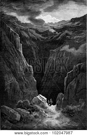 The ravine of Poqueira in the Alpujarras, vintage engraved illustration. Le Tour du Monde, Travel Journal, (1865).
