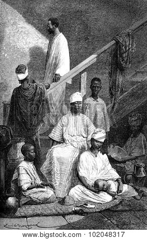 Senegalese family of St. Louis, vintage engraved illustration. Le Tour du Monde, Travel Journal, (1872).