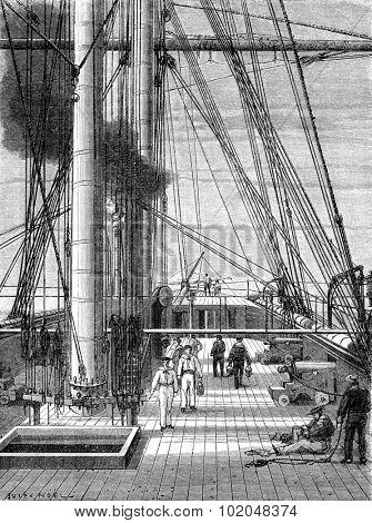 The Bridge on the Zenobia, starting from Goree. vintage engraved illustration. Le Tour du Monde, Travel Journal, (1872).