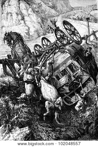 A terrible fall. The diligence rolled on itself, vintage engraved illustration. Journal des Voyages, Travel Journal, (1879-80). poster