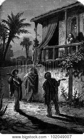 Serenade, vintage engraved illustration. Le Tour du Monde, Travel Journal, (1872).