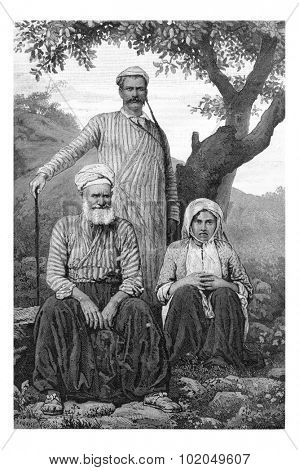 Maronite Dragoman and Metouali or Shia Man and Woman of the Beqaa Valley, in Lebanon, vintage engraved illustration. Le Tour du Monde, Travel Journal, 1881