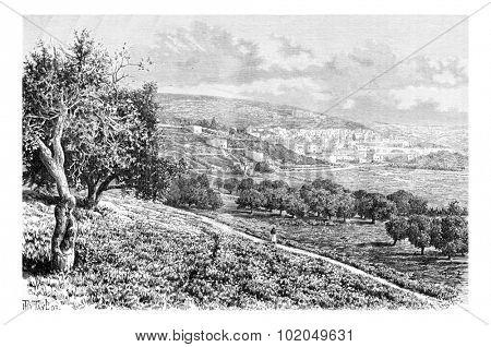 City of Nazareth in Israel, vintage engraved illustration. Le Tour du Monde, Travel Journal, 1881 poster