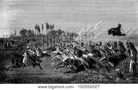Run a Hungarian. One of them in front of his comrades in length, vintage engraved illustration. Journal des Voyage, Travel Journal, (1880-81).