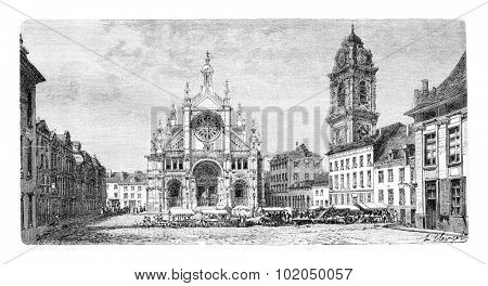 Church of Saint Catherine in Antwerp, Belgium, drawing by Clerget based on a photograph by Levy, vintage illustration. Le Tour du Monde, Travel Journal, 1881
