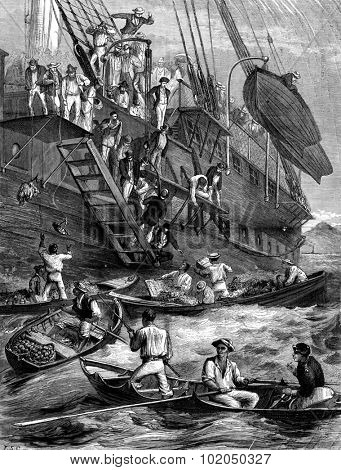 Quarantine. Boats and fruit vendors, vintage engraved illustration. Journal des Voyages, Travel Journal, (1879-80).