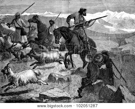 Afghanistan. A skirmish in the past of Khyber, vintage engraved illustration. Journal des Voyages, Travel Journal, (1880-81). poster
