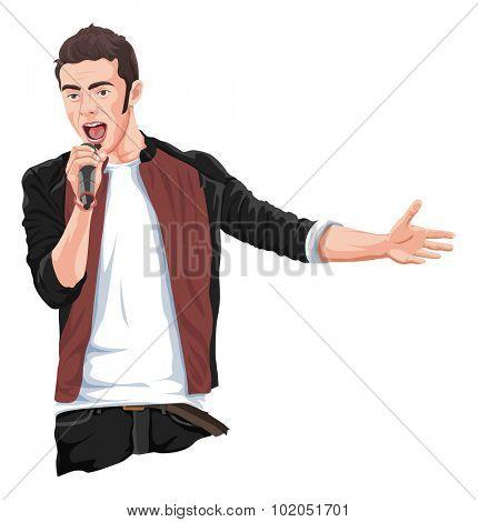 Vector illustration of rockstar singing in mike.