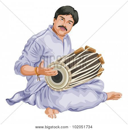 Vector illustration of man playing dhol.