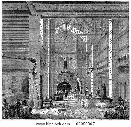 Installing a Marseilles soap, vintage engraved illustration. Industrial encyclopedia E.-O. Lami - 1875.