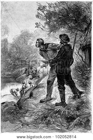 Captain John darted out of the hut, vintage engraved illustration. Jules Verne Mistress Branican, 1891. poster