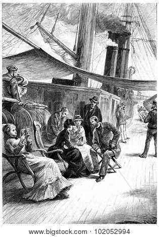 Passengers show him extreme deference, vintage engraved illustration.
