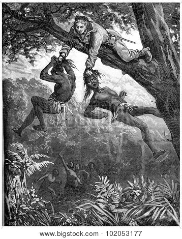 A Herculean task. It keeps hanging for a few seconds, vintage engraved illustration. Journal des Voyage, Travel Journal, (1880-81).