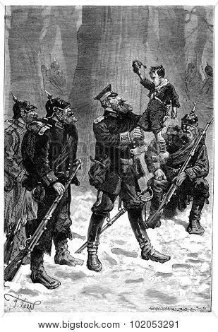 The Tour de France a small Parisian, We will shoot you! said the lieutenant, vintage engraved illustration. Journal des Voyage, Travel Journal, (1880-81).