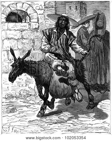 Adventures of an heir worldwide, The water is transported on donkeys, vintage engraved illustration. Journal des Voyage, Travel Journal, (1880-81).