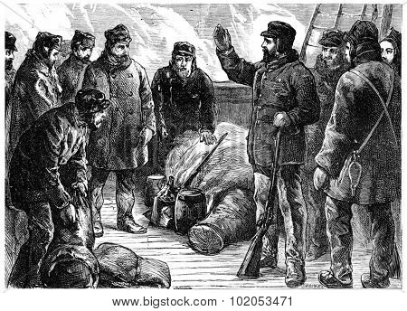 Lieutenant Greely and his companions at the start of the Lady Franklin Bay, vintage engraved illustration. Journal des Voyage, Travel Journal, (1880-81).