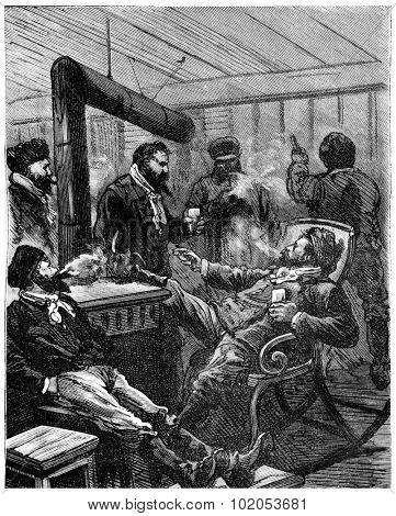 Adventures of an heir worldwide, The four men were enjoying a large grog, vintage engraved illustration. Journal des Voyage, Travel Journal, (1880-81).