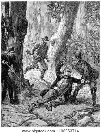 Drummers bushes in Australia, A bullet had struck the bandit knee, vintage engraved illustration. Journal des Voyage, Travel Journal, (1880-81).