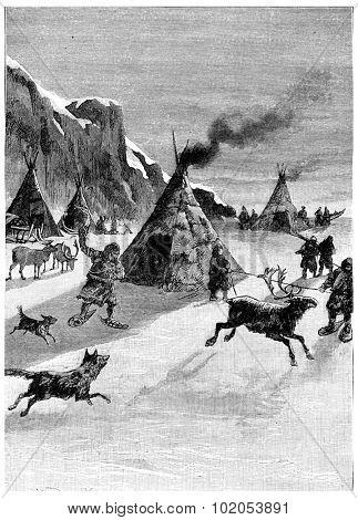 Topics tchouk-tchouk resume their occupations, vintage engraved illustration. Jules Verne Cesar Cascabel, 1890. poster