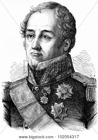 Sebastiani, vintage engraved illustration. History of France 1885