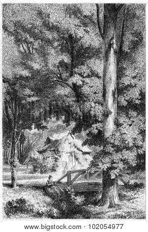 Trianon in the eighteenth century, vintage engraved illustration.