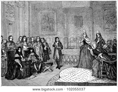 Athalie, represented by the ladies of Saint-Cyr before the king and Madame de Maintenon, vintage engraved illustration.