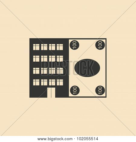 Flat in black white House and currency