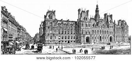 Rue de Rivoli and City Hall, vintage engraved illustration. Paris - Auguste VITU  1890.