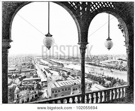 Panorama taken westward, the first platform of the Eiffel Tower during the 1889 Exhibition, vintage engraved illustration. Paris - August 1890.