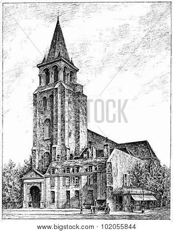 The church of Saint-Germain des Pres, vintage engraved illustration. Paris - Auguste VITU 1890.