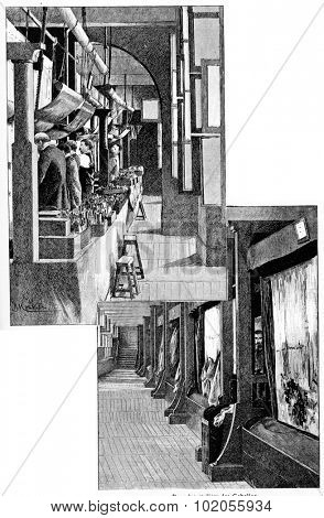 In the Gobelins workshops, vintage engraved illustration. Paris - Auguste VITU 1890.
