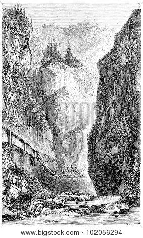 Entrance of the Val d'Enfer (Black Forest), vintage engraved illustration. From Chemin des Ecoliers, 1861.