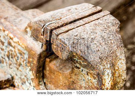 Blacksmiths vice closeup