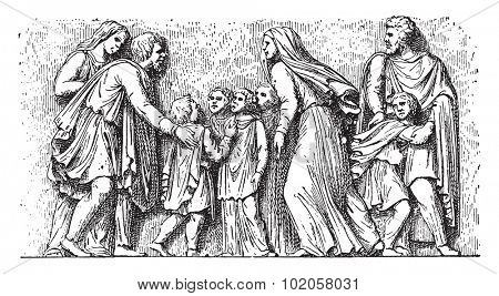 Barbarian family imploring the Romans, vintage engraved illustration.