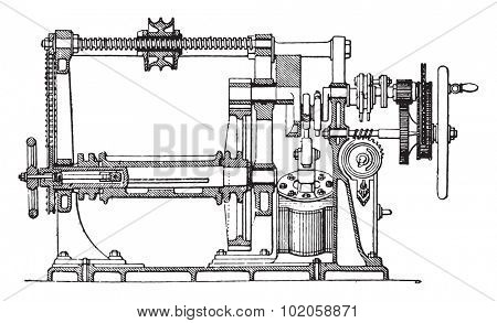 Farcot servo winch, vintage engraved illustration. Industrial encyclopedia E.-O. Lami - 1875.