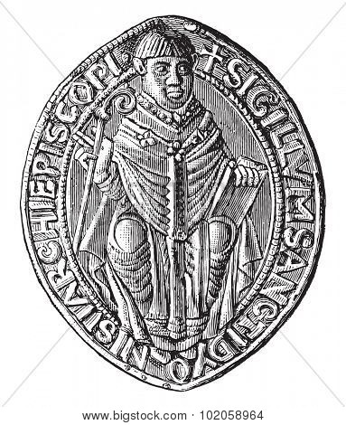 Seal of the abbey of Saint-Denis (twelfth century), vintage engraved illustration. Industrial encyclopedia E.-O. Lami - 1875.