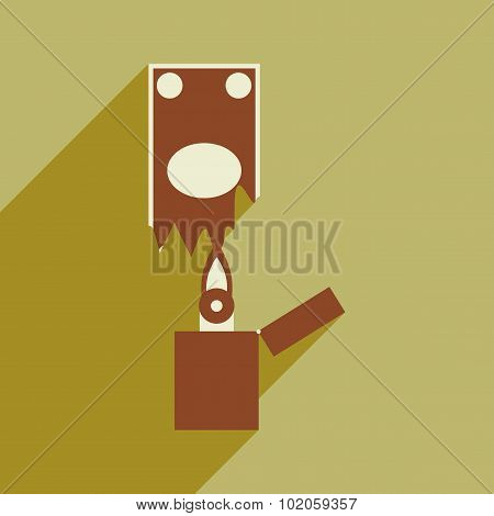 Modern flat icon with shadow money to burn
