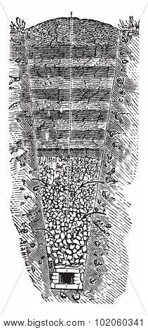 Stone aqueduct to bring groundwater infiltration, vintage engraved illustration. Industrial encyclopedia E.-O. Lami - 1875.