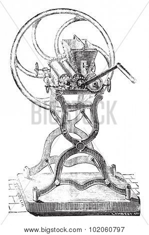 Grinding machine colors, vintage engraved illustration. Industrial encyclopedia E.-O. Lami - 1875.