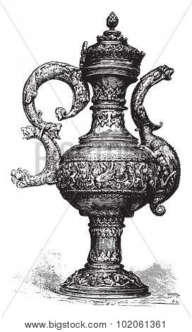 Ewer, vintage engraved illustration. Industrial encyclopedia E.-O. Lami - 1875.