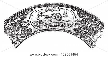 Marly a pewter dish, vintage engraved illustration. Industrial encyclopedia E.-O. Lami - 1875.
