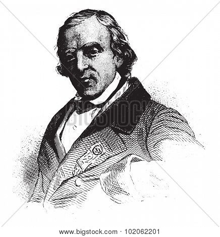 Francois-Vincent Raspail, Representative to the constituent, vintage engraved illustration.